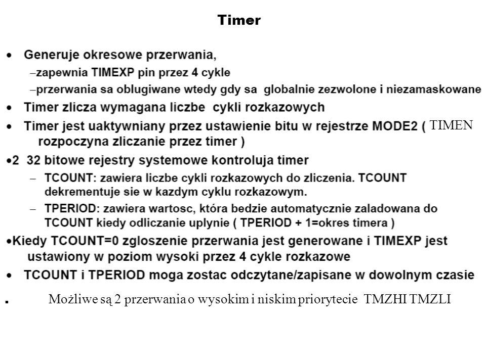 Timer. Możliwe są 2 przerwania o wysokim i niskim priorytecie TMZHI TMZLI TIMEN