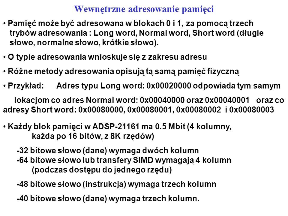 Wewnętrzne adresowanie pamięci Pamięć może być adresowana w blokach 0 i 1, za pomocą trzech trybów adresowania : Long word, Normal word, Short word (d