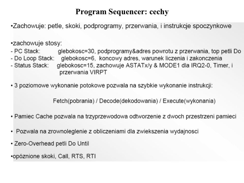 Rejestry układu Program Sequencer