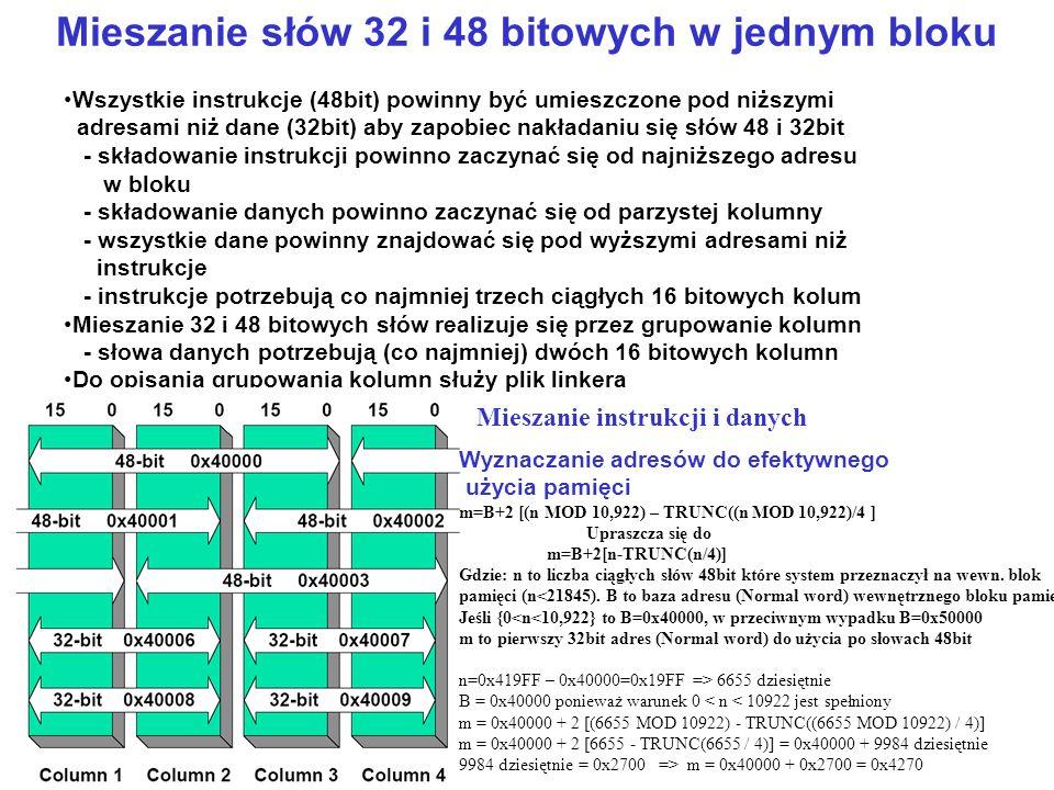 Mieszanie słów 32 i 48 bitowych w jednym bloku Wszystkie instrukcje (48bit) powinny być umieszczone pod niższymi adresami niż dane (32bit) aby zapobie