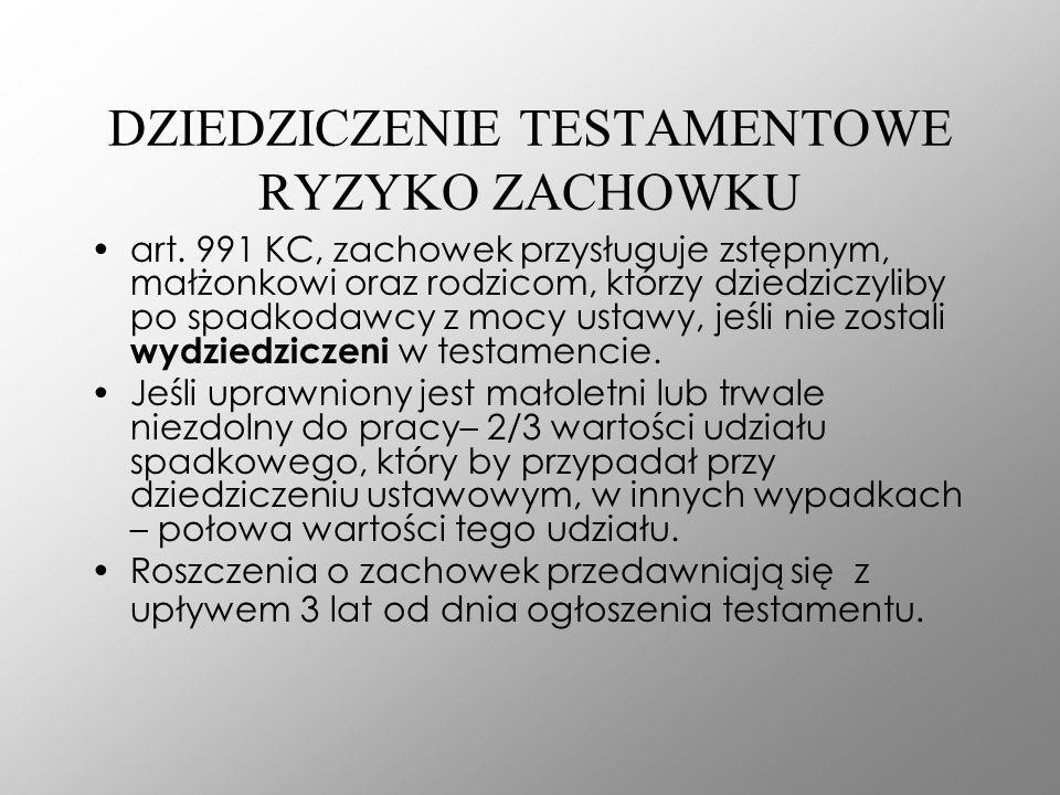 DZIEDZICZENIE TESTAMENTOWE RYZYKO ZACHOWKU art. 991 KC, zachowek przysługuje zstępnym, małżonkowi oraz rodzicom, którzy dziedziczyliby po spadkodawcy