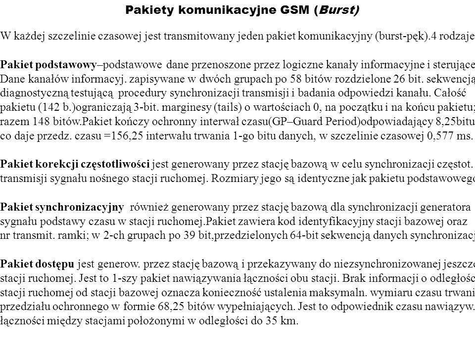 Pakiety komunikacyjne GSM (Burst) W każdej szczelinie czasowej jest transmitowany jeden pakiet komunikacyjny (burst-pęk).4 rodzaje: Pakiet podstawowy–
