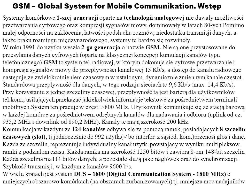 GSM – Global System for Mobile Communikation. Wstęp Systemy komórkowe 1-szej generacji oparte na technologii analogowej nie dawały możliwości przetwar