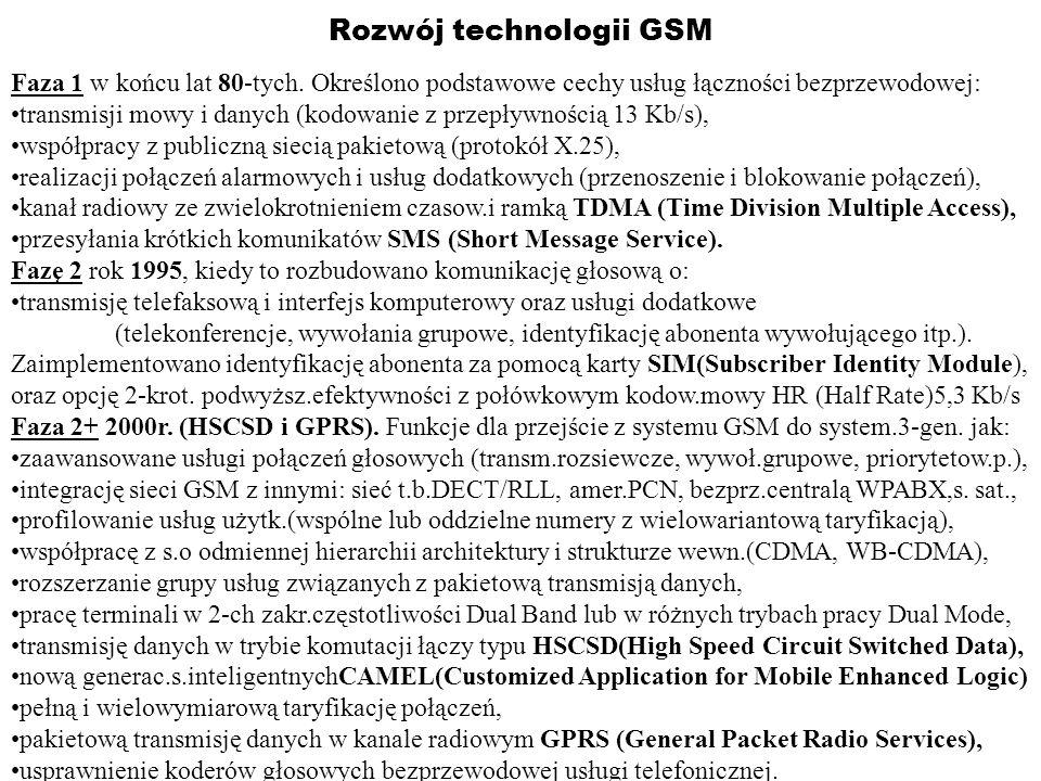 Rozwój technologii GSM Faza 1 w końcu lat 80-tych. Określono podstawowe cechy usług łączności bezprzewodowej: transmisji mowy i danych (kodowanie z pr