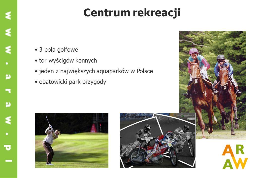 Centrum rekreacji 3 pola golfowe tor wyścigów konnych jeden z największych aquaparków w Polsce opatowicki park przygody