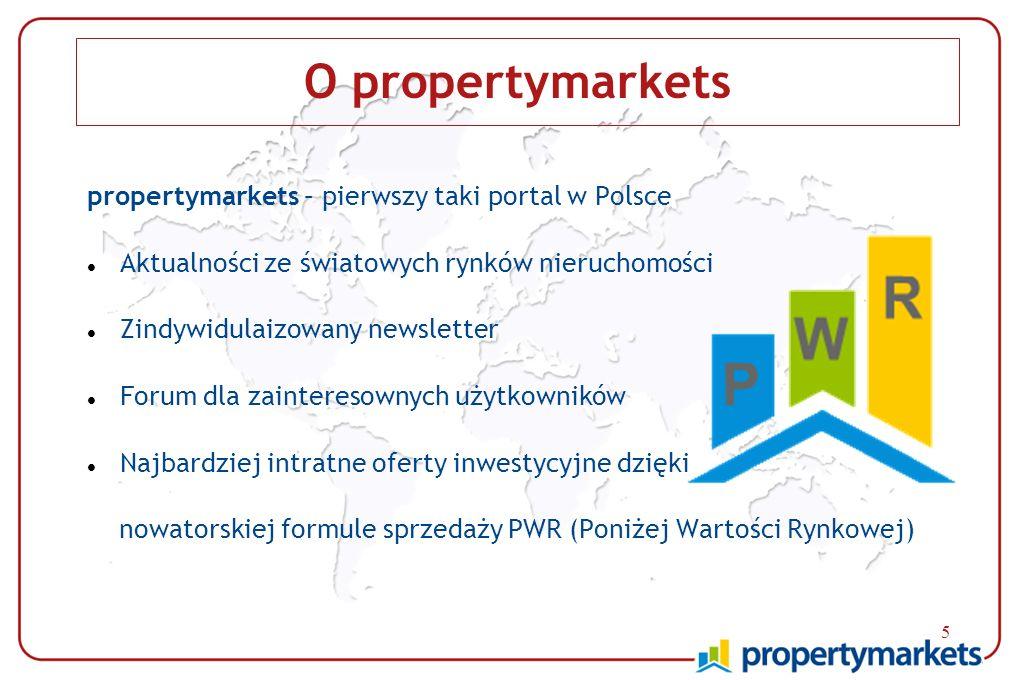 5 O propertymarkets propertymarkets – pierwszy taki portal w Polsce Aktualności ze światowych rynków nieruchomości Zindywidulaizowany newsletter Forum