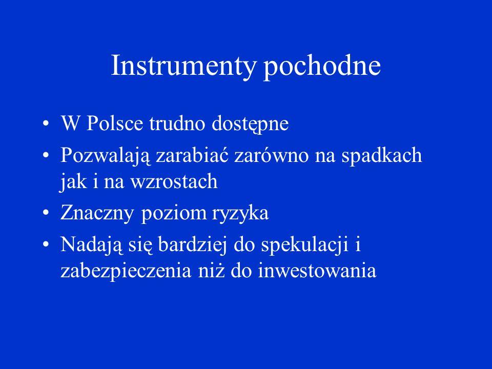 Instrumenty pochodne W Polsce trudno dostępne Pozwalają zarabiać zarówno na spadkach jak i na wzrostach Znaczny poziom ryzyka Nadają się bardziej do s