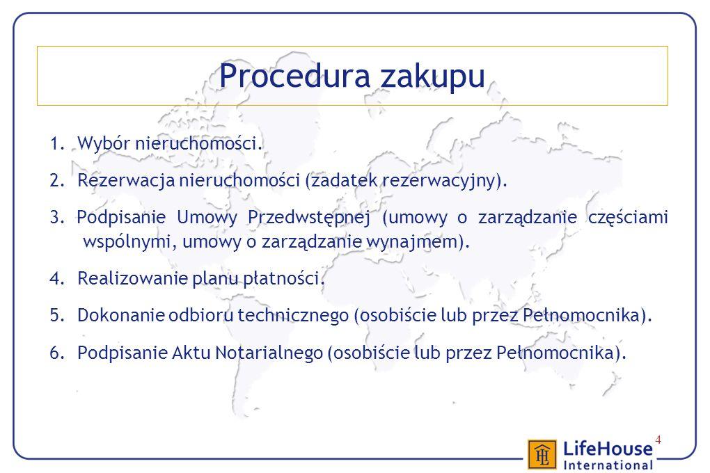 4 Procedura zakupu 1. Wybór nieruchomości. 2. Rezerwacja nieruchomości (zadatek rezerwacyjny).