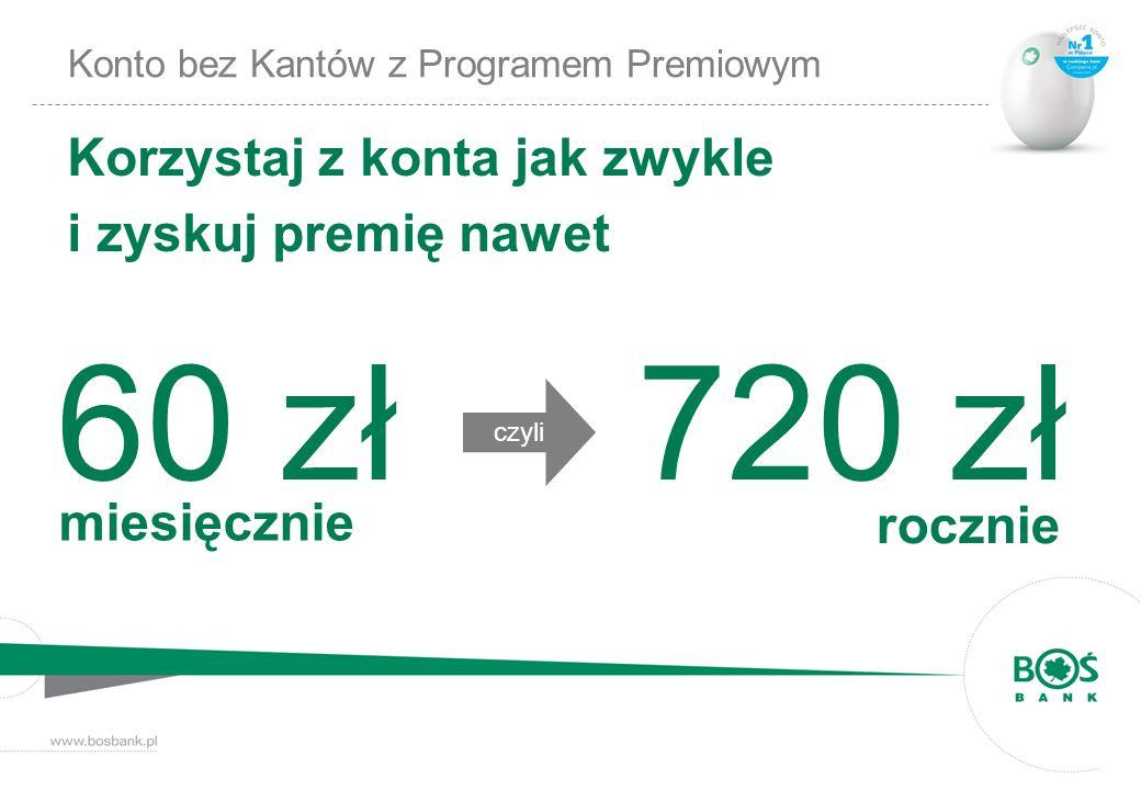 Konto bez Kantów z Programem Premiowym Korzystaj z konta jak zwykle i zyskuj premię nawet czyli 60 zł miesięcznie rocznie 720 zł
