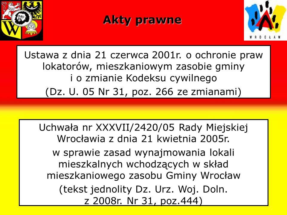 Podmiotowy zakres najmu Gmina Wrocław wynajmuje lokale mieszkalne osobom pełnoletnim które spełniają łącznie następujące warunki: są członkami wspólnoty samorządowej Wrocławia – należy przez to rozumieć osoby zamieszkujące na terenie Gminy Wrocław z zamiarem stałego pobytu, który może być wykazywany zaświadczeniami, poświadczeniami lub innymi dokumentami potwierdzającymi zamiar stałego pobytu na terenie Gminy Wrocław nie posiadają tytułu prawnego do innego lokalu, a w przypadku małżonków żadnemu z nich nie przysługuje tytuł prawny do innego lokalu spełniają określone w uchwale kryteria dochodowe