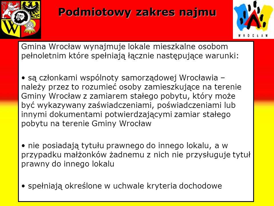 Lokale socjalne Lokal socjalny - należy przez to rozumieć lokal nadający się do zamieszkania ze względu na wyposażenie i stan techniczny, którego powierzchnia pokoi przypadająca na członka gospodarstwa domowego najemcy nie może być mniejsza niż 5 m 2, a w wypadku jednoosobowego gospodarstwa domowego 10 m 2, przy czym lokal ten może być o obniżonym standardzie; Zasób lokali socjalnych we Wrocławiu – 965 lokali.