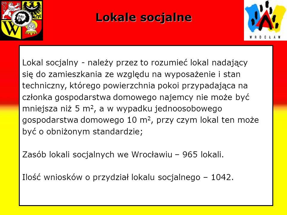 Lokale socjalne Lokal socjalny - należy przez to rozumieć lokal nadający się do zamieszkania ze względu na wyposażenie i stan techniczny, którego powi