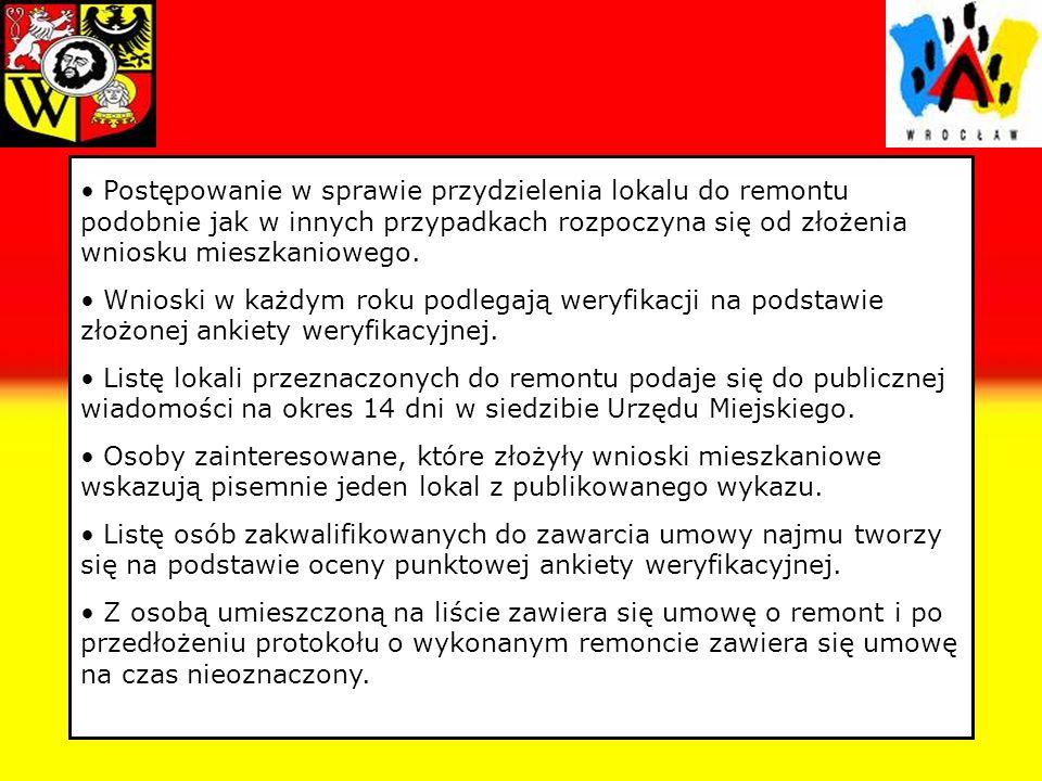 Ankieta weryfikacyjna Ankieta weryfikacyjna stanowi załącznik do uchwały o zasadach wynajmowania lokali mieszkalnych wchodzących w skład mieszkaniowego zasobu Gminy Wrocław i jest w niej zawarta punktacja w oparciu o którą rozpatruje się wnioski o najem lokalu socjalnego i lokalu do remontu.