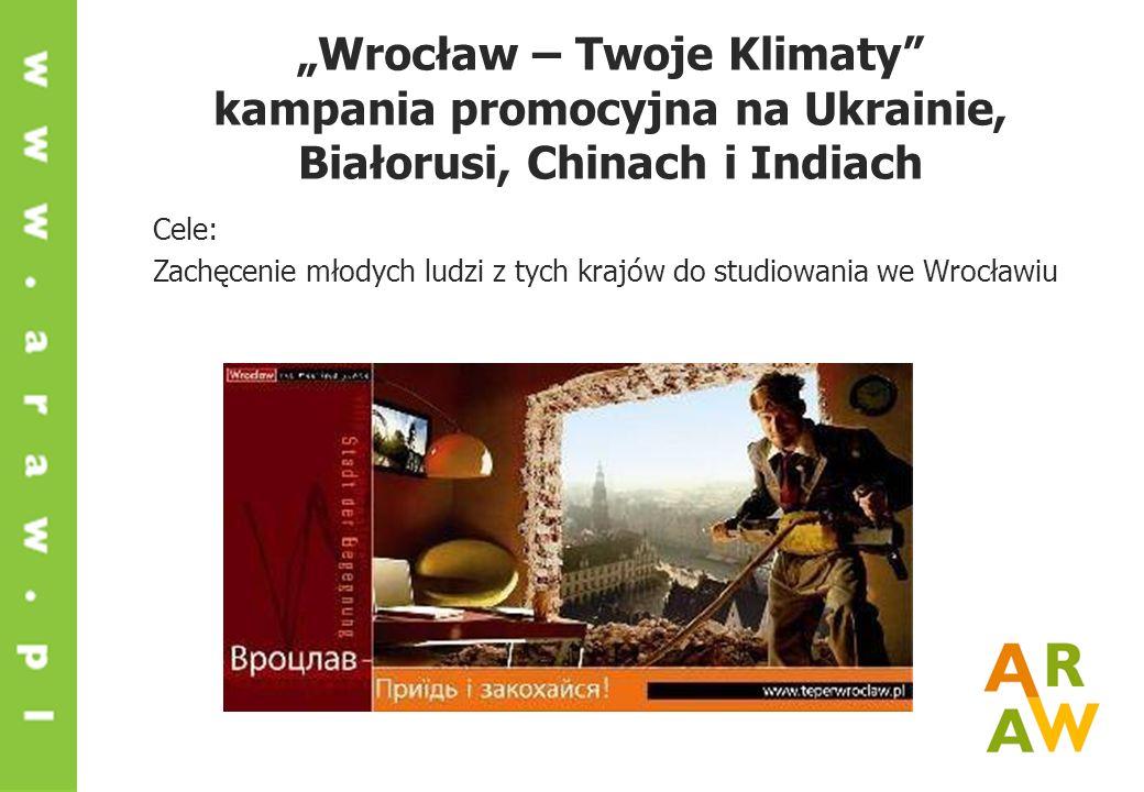 Wrocław – Twoje Klimaty kampania promocyjna na Ukrainie, Białorusi, Chinach i Indiach Cele: Zachęcenie młodych ludzi z tych krajów do studiowania we W