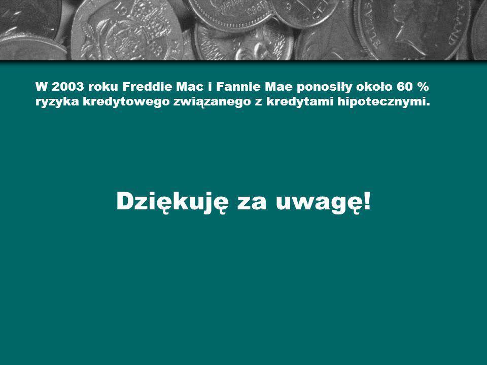 W 2003 roku Freddie Mac i Fannie Mae ponosiły około 60 % ryzyka kredytowego związanego z kredytami hipotecznymi. Dziękuję za uwagę!