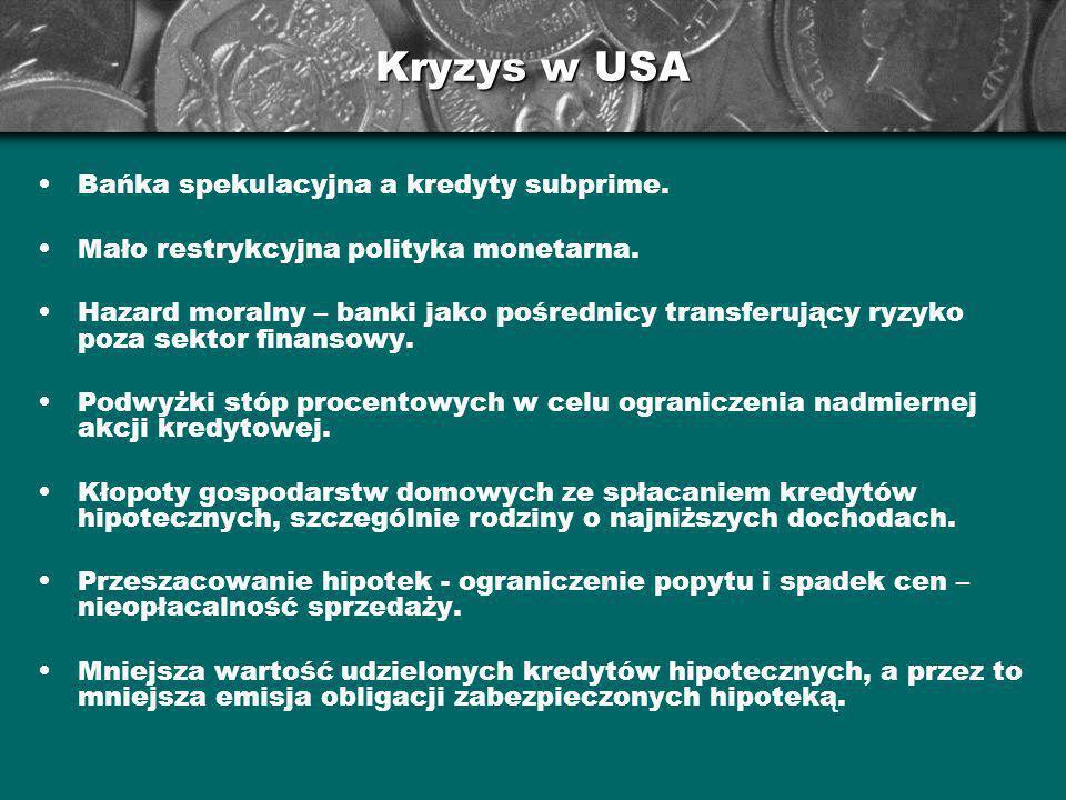 Kryzys w USA Bańka spekulacyjna a kredyty subprime. Mało restrykcyjna polityka monetarna. Hazard moralny – banki jako pośrednicy transferujący ryzyko