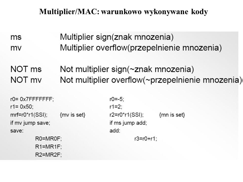 Multiplier/MAC: warunkowo wykonywane kody