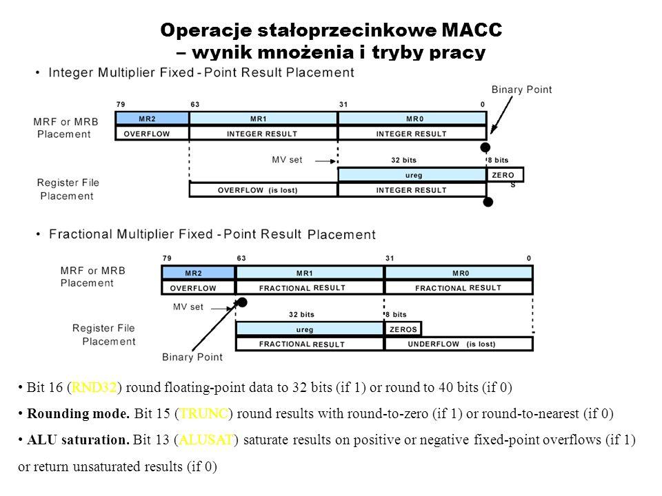 Operacje stałoprzecinkowe MACC – wynik mnożenia i tryby pracy Bit 16 (RND32) round floating-point data to 32 bits (if 1) or round to 40 bits (if 0) Ro