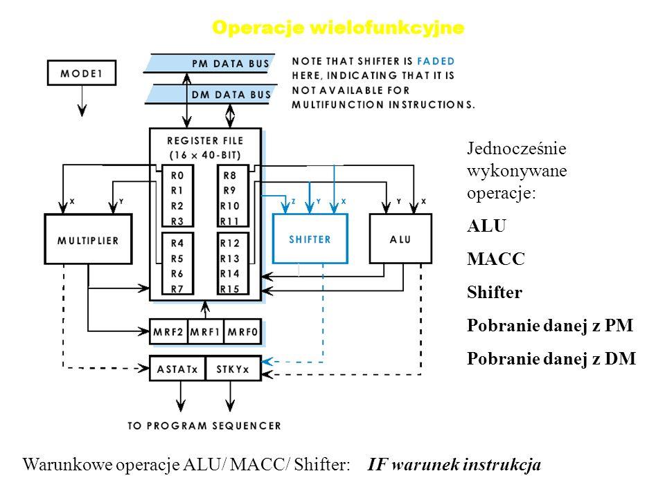 Operacje wielofunkcyjne Jednocześnie wykonywane operacje: ALU MACC Shifter Pobranie danej z PM Pobranie danej z DM Warunkowe operacje ALU/ MACC/ Shifter: IF warunek instrukcja