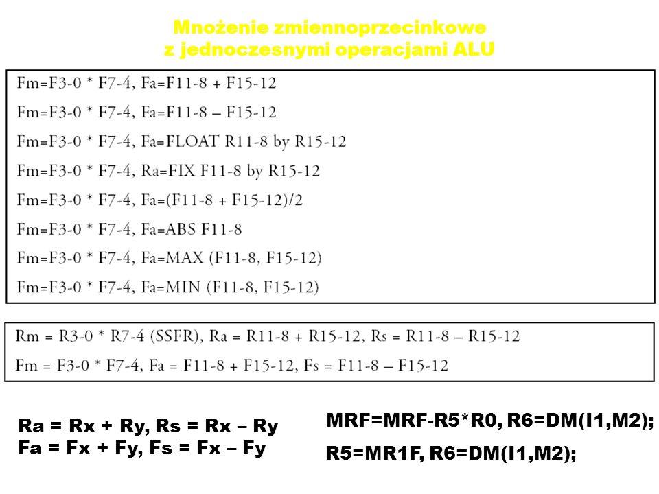 Mnożenie zmiennoprzecinkowe z jednoczesnymi operacjami ALU Ra = Rx + Ry, Rs = Rx – Ry Fa = Fx + Fy, Fs = Fx – Fy MRF=MRF-R5*R0, R6=DM(I1,M2); R5=MR1F, R6=DM(I1,M2);