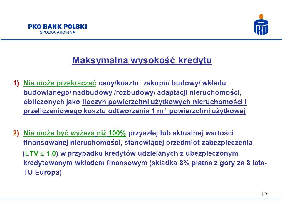 15 Maksymalna wysokość kredytu 1)Nie może przekraczać ceny/kosztu: zakupu/ budowy/ wkładu budowlanego/ nadbudowy /rozbudowy/ adaptacji nieruchomości,