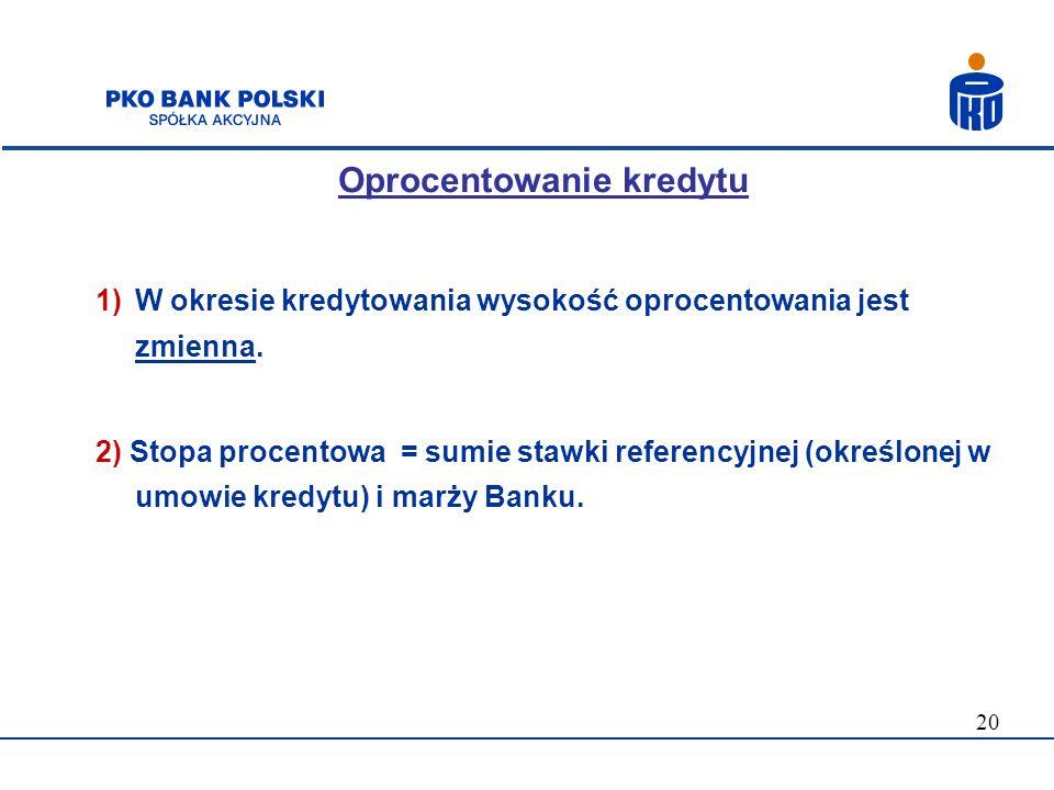 20 Oprocentowanie kredytu 1)W okresie kredytowania wysokość oprocentowania jest zmienna. 2) Stopa procentowa = sumie stawki referencyjnej (określonej