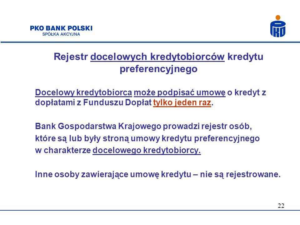 22 Rejestr docelowych kredytobiorców kredytu preferencyjnego Docelowy kredytobiorca może podpisać umowę o kredyt z dopłatami z Funduszu Dopłat tylko j