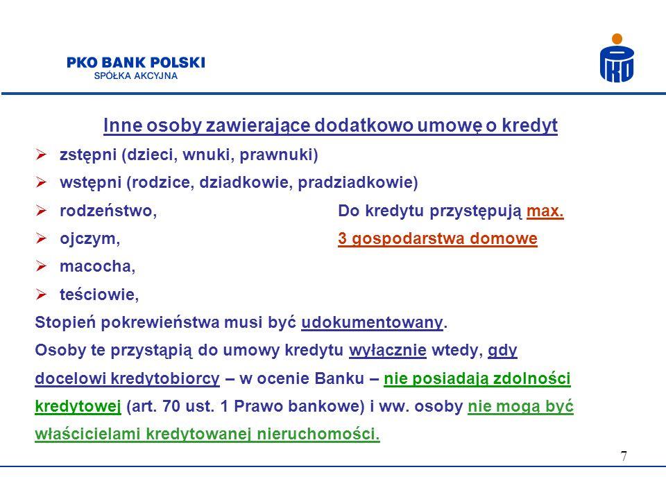 18 Forma i sposób uruchomienia kredytu Na podstawie wniosku kredytobiorcy, po spełnieniu wszystkich warunków wypłaty kredytu (zawartych w umowie kredytu): 1) jednorazowo albo w transzach 2) bezgotówkowo