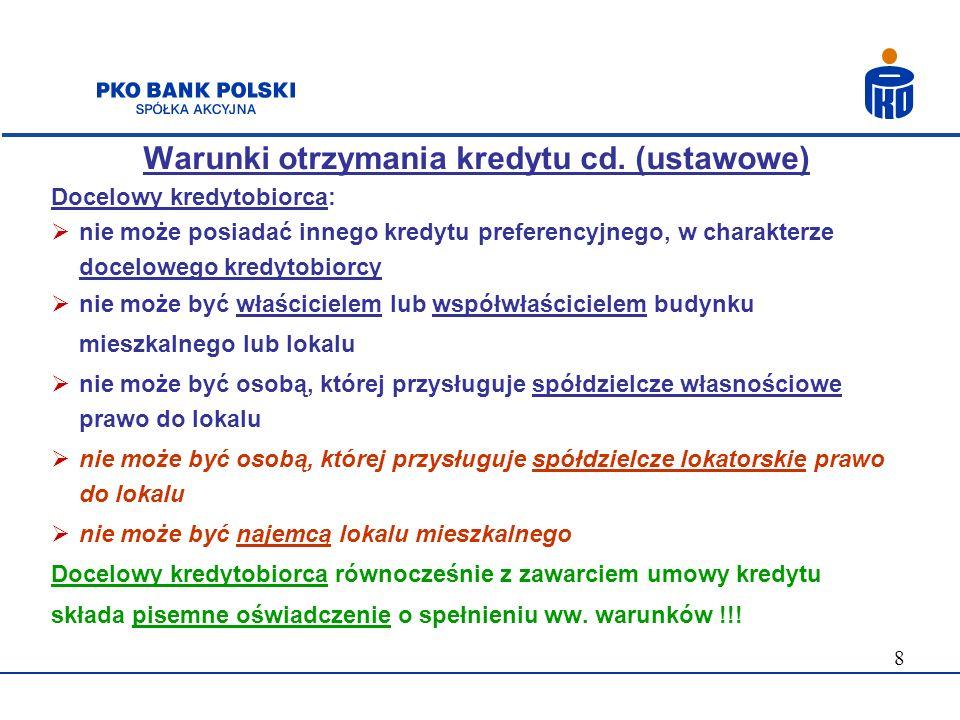 19 Forma i sposób spłaty kredytu 1) Formuła spłaty: raty malejące raty annuitetowe (równe) 2) Waluta spłaty: PLN 3) Maksymalny okres kredytowania: 30 lat 4)Karencja w spłacie kapitału: max 6 miesięcy, licząc od dnia wypłaty ostatniej transzy kredytu Nie są dostępne zawieszenia raty spłaty kredytu – tzw.
