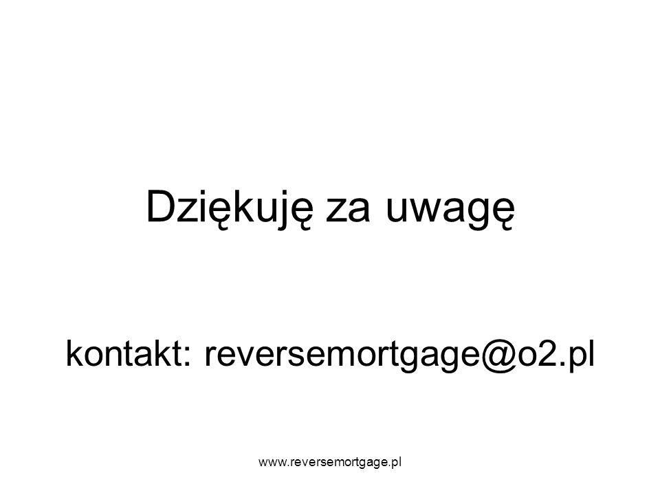 www.reversemortgage.pl Dziękuję za uwagę kontakt: reversemortgage@o2.pl