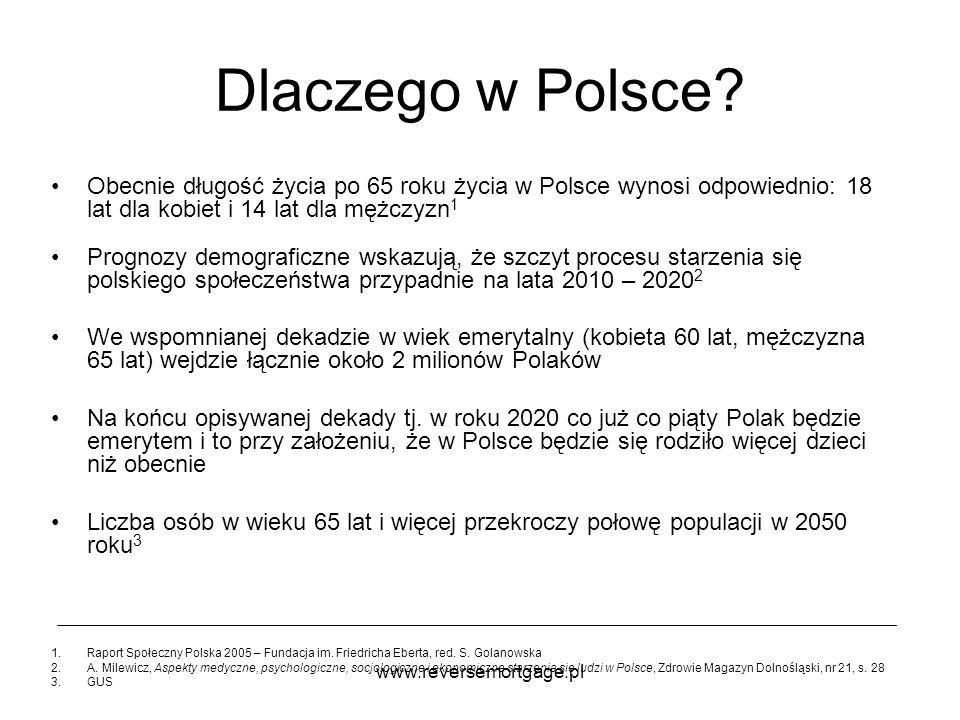 www.reversemortgage.pl Dlaczego w Polsce? Obecnie długość życia po 65 roku życia w Polsce wynosi odpowiednio: 18 lat dla kobiet i 14 lat dla mężczyzn