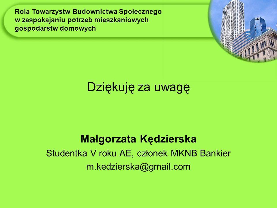 Dziękuję za uwagę Małgorzata Kędzierska Studentka V roku AE, członek MKNB Bankier m.kedzierska@gmail.com Rola Towarzystw Budownictwa Społecznego w zaspokajaniu potrzeb mieszkaniowych gospodarstw domowych