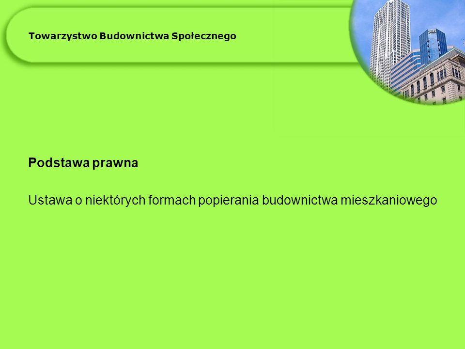 Towarzystwo Budownictwa Społecznego Podstawa prawna Ustawa o niektórych formach popierania budownictwa mieszkaniowego