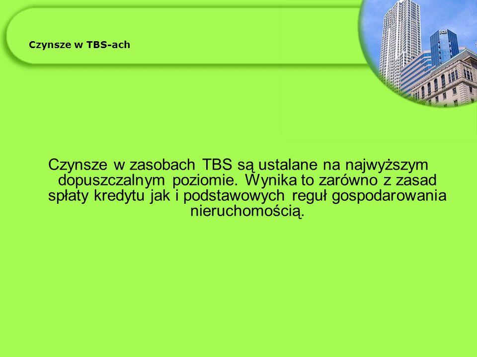 Czynsze w TBS-ach Czynsze w zasobach TBS są ustalane na najwyższym dopuszczalnym poziomie.