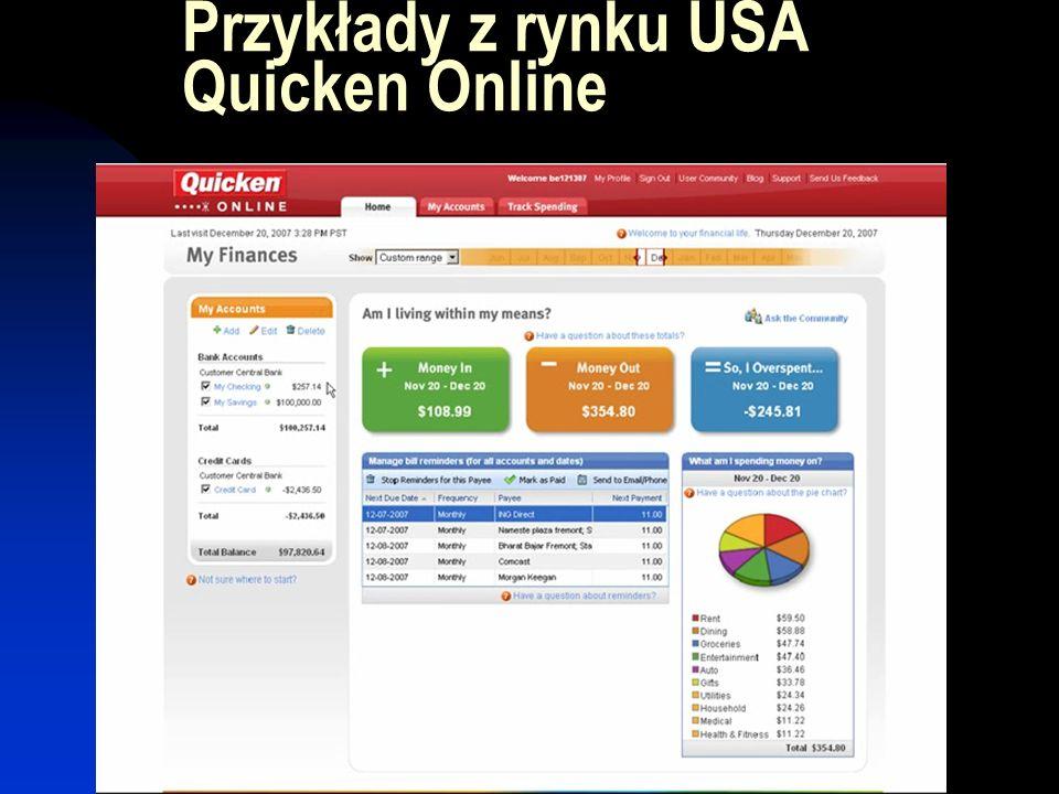 Przykłady z rynku USA Quicken Online