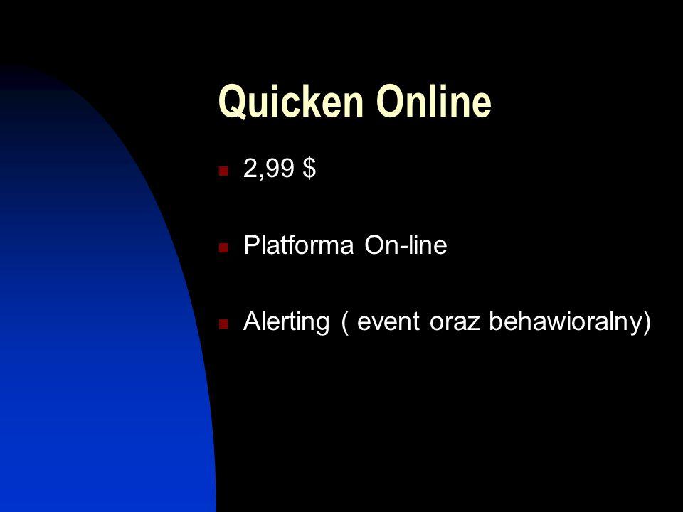 Quicken Online 2,99 $ Platforma On-line Alerting ( event oraz behawioralny)