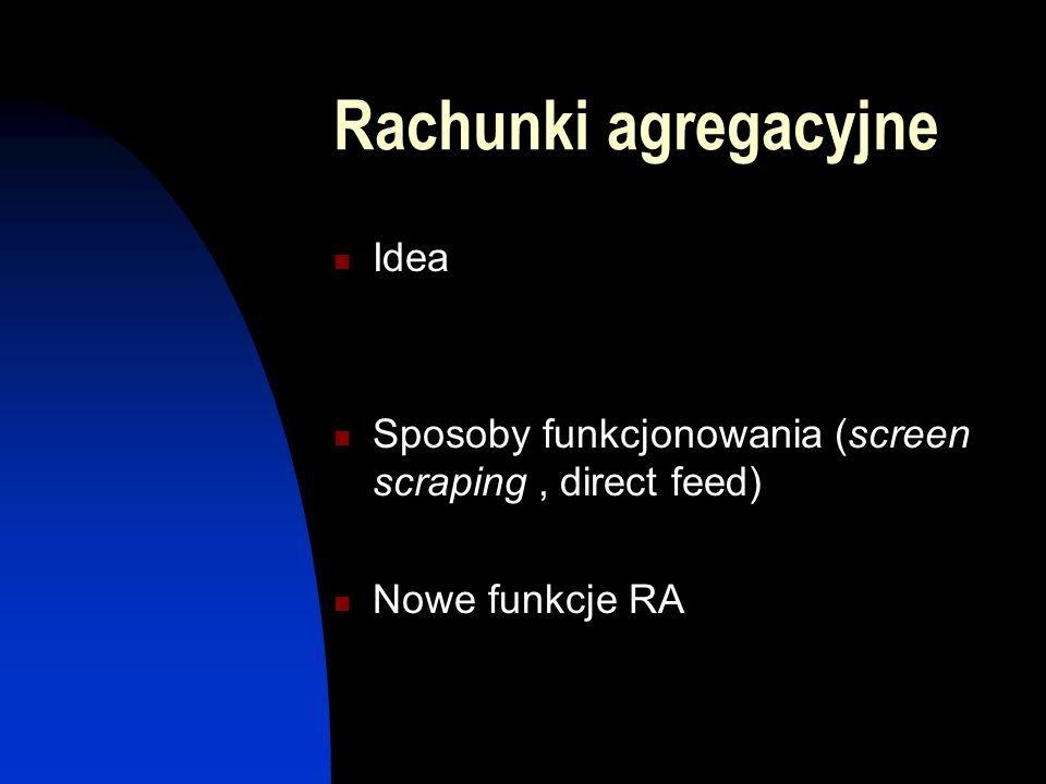 Rachunki agregacyjne Idea Sposoby funkcjonowania (screen scraping, direct feed) Nowe funkcje RA
