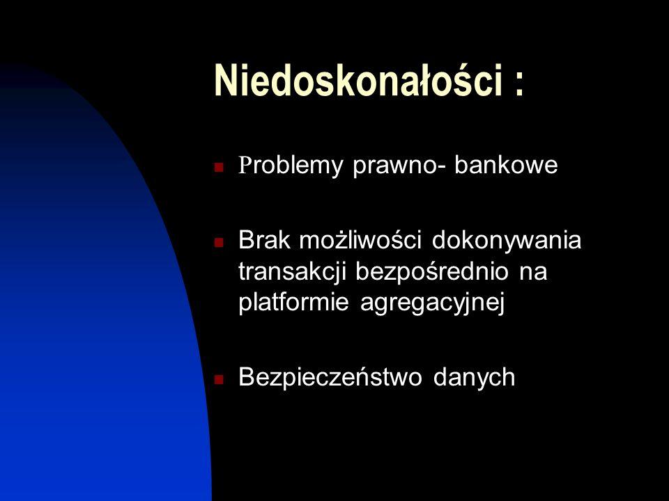 Niedoskonałości : P roblemy prawno- bankowe Brak możliwości dokonywania transakcji bezpośrednio na platformie agregacyjnej Bezpieczeństwo danych