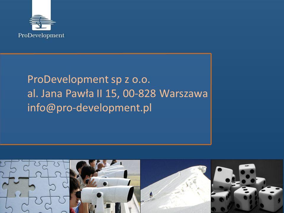 ProDevelopment sp z o.o. al. Jana Pawła II 15, 00-828 Warszawa info@pro-development.pl