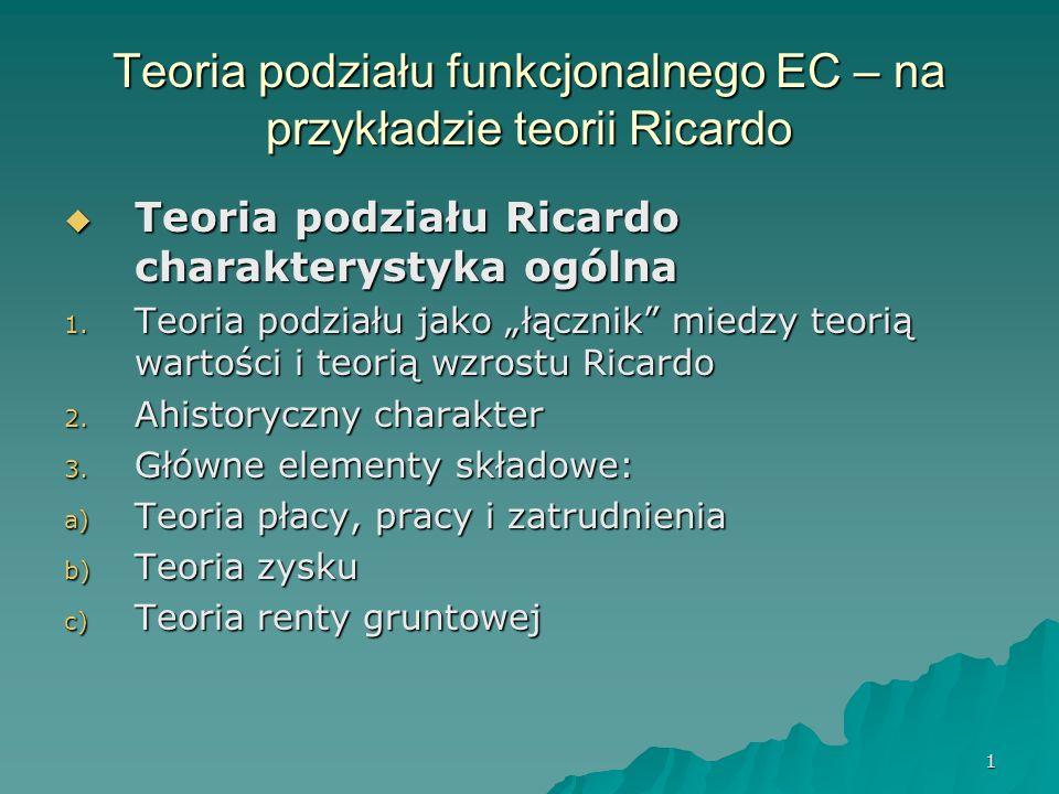 1 Teoria podziału funkcjonalnego EC – na przykładzie teorii Ricardo Teoria podziału Ricardo charakterystyka ogólna Teoria podziału Ricardo charakterys