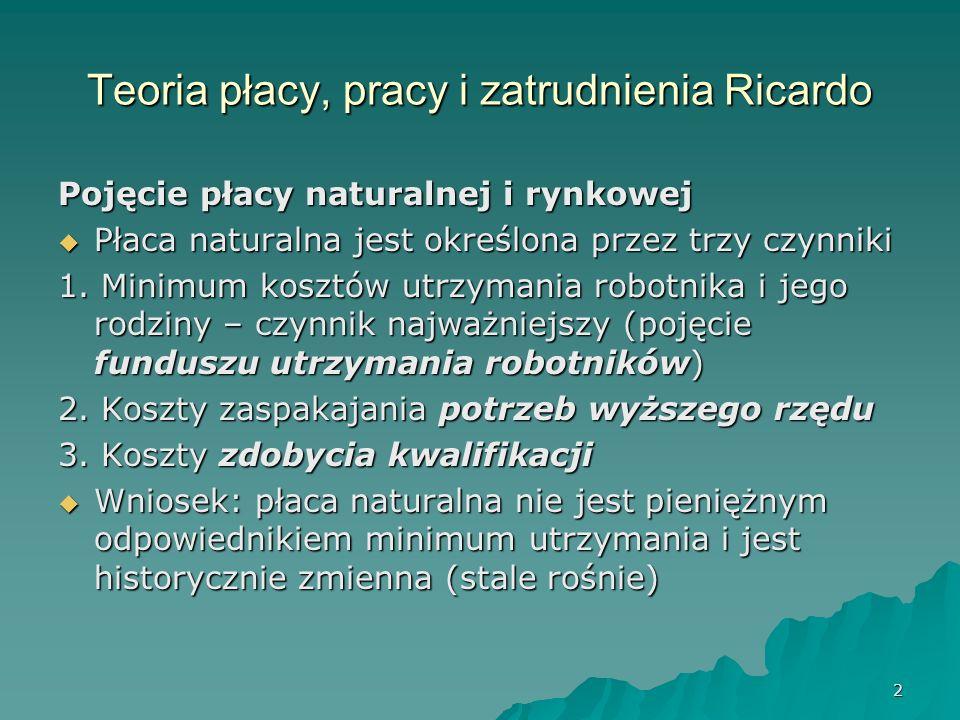 2 Teoria płacy, pracy i zatrudnienia Ricardo Pojęcie płacy naturalnej i rynkowej Płaca naturalna jest określona przez trzy czynniki Płaca naturalna je