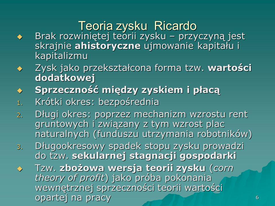 7 Teoria renty gruntowej (rent naturalnych) Główne założenia TRG Główne założenia TRG 1.
