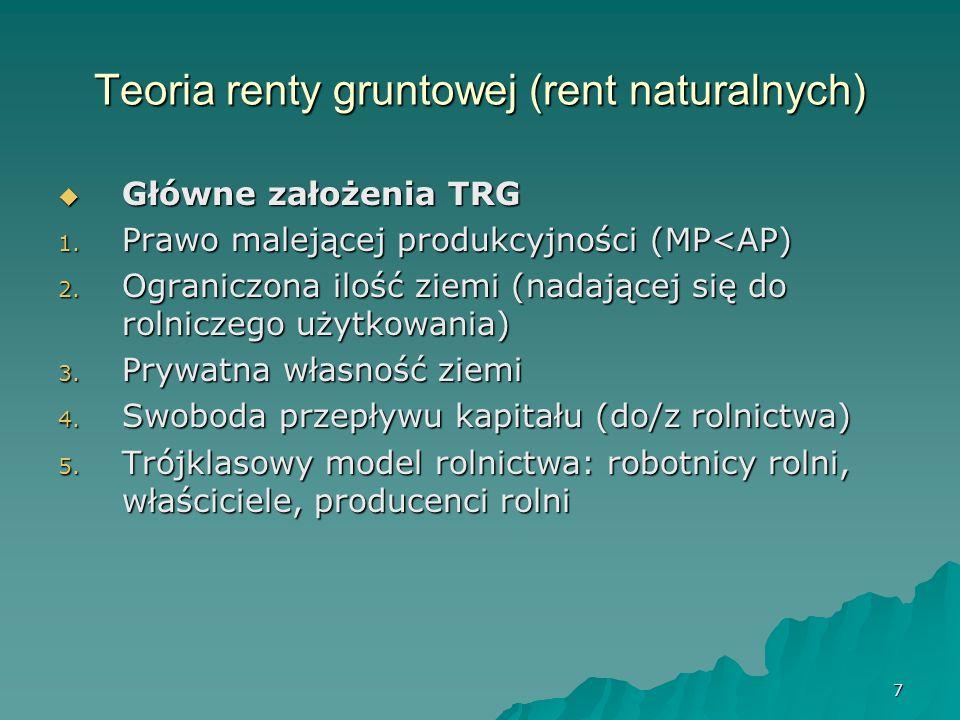 7 Teoria renty gruntowej (rent naturalnych) Główne założenia TRG Główne założenia TRG 1. Prawo malejącej produkcyjności (MP<AP) 2. Ograniczona ilość z