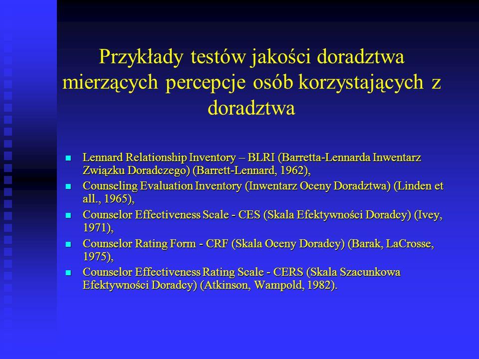 Przykłady testów jakości doradztwa mierzących percepcje osób korzystających z doradztwa Lennard Relationship Inventory – BLRI (Barretta-Lennarda Inwen
