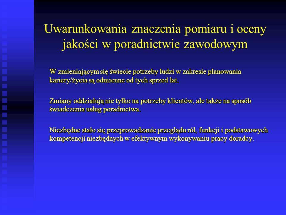 Literatura: - Bańka, A.(2004). Skale samooceny jakości procesu doradztwa zawodowego.
