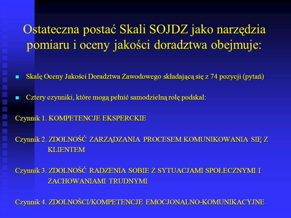 Ostateczna postać Skali SOJDZ jako narzędzia pomiaru i oceny jakości doradztwa obejmuje: Skalę Oceny Jakości Doradztwa Zawodowego składającą się z 74