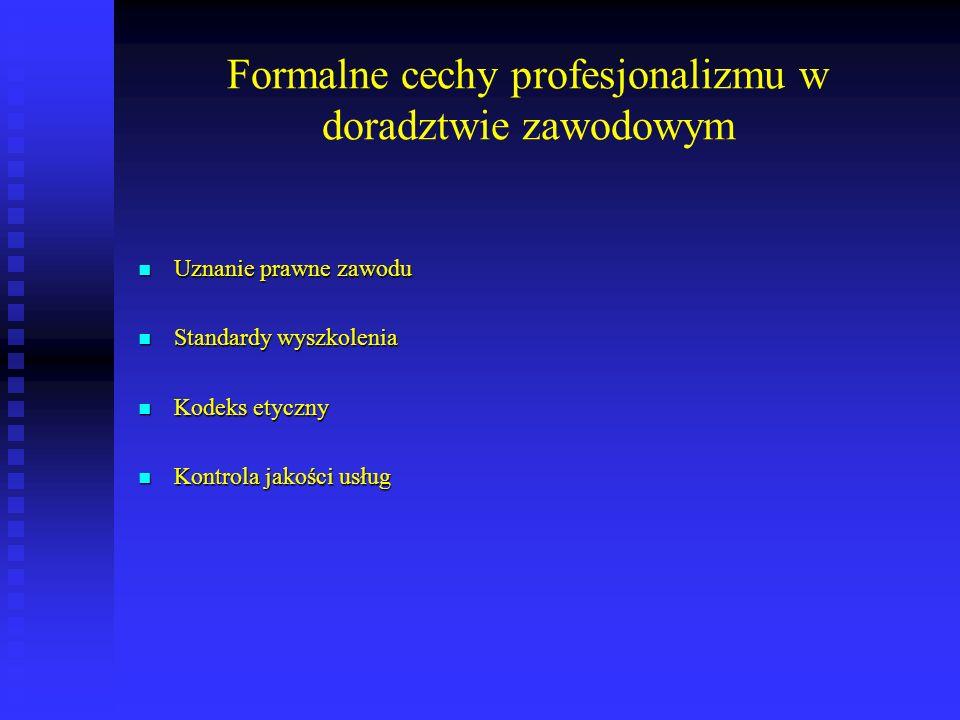 Formalne cechy profesjonalizmu w doradztwie zawodowym Uznanie prawne zawodu Uznanie prawne zawodu Standardy wyszkolenia Standardy wyszkolenia Kodeks e
