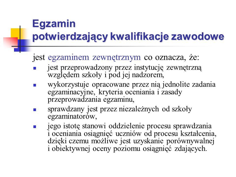 Porównywalność i obiektywizm egzaminu zapewniają: ustalone i zatwierdzone przez ministra właściwego ds.
