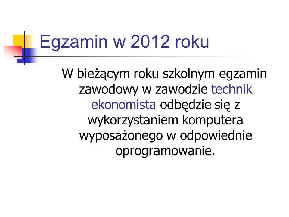 Egzamin w 2012 roku W bieżącym roku szkolnym egzamin zawodowy w zawodzie technik ekonomista odbędzie się z wykorzystaniem komputera wyposażonego w odp