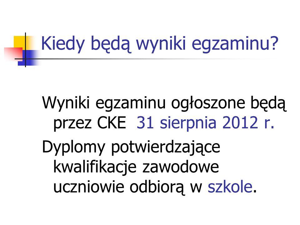 Kiedy będą wyniki egzaminu? Wyniki egzaminu ogłoszone będą przez CKE 31 sierpnia 2012 r. Dyplomy potwierdzające kwalifikacje zawodowe uczniowie odbior